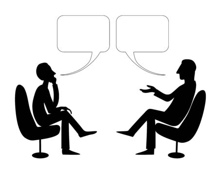 Two Men are talking with bubble. Vector drawing image.