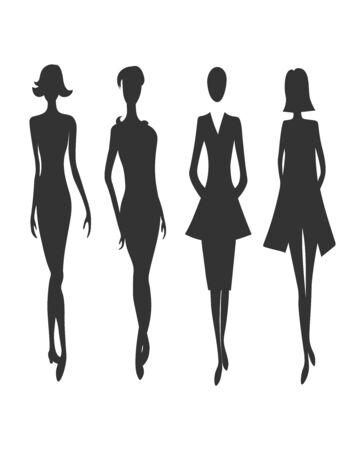 Fashion vector girls dark grey silhouette set