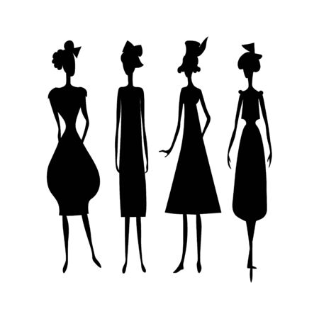 Fashion vector girls black drawing silhouette set