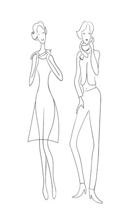 Two fashion women. Drawing outline model set. Vectores