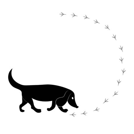 Dog follows birds trail. Vector black silhouette image.