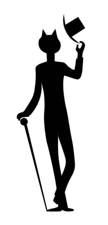Cat in elegant clothing with walking stick. Vector contour black illustration Vectores