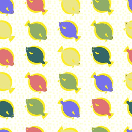 Fish seamless pattern. Vector color image background. Vectores