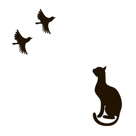 Cat in profile looks at the flying birds. Vector image of a black silhouette. Vectores