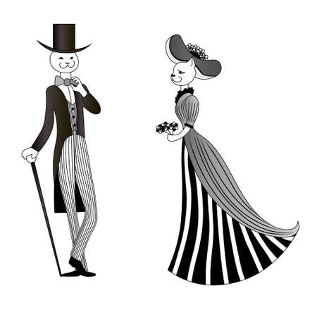 Smilimg legant cat in tuxedo and top hat with cane greets lady in hat with bouquet. Vector black and white drawn image.