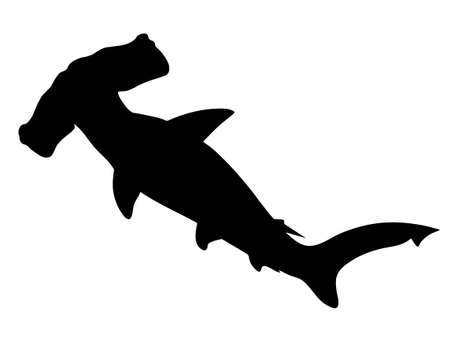 Hammerhead shark. Black hand drawing silhouette vector image.