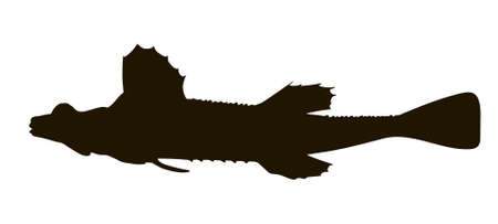 Sea poacher. Black hand drawing silhouette vector image.