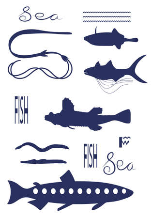 Different Fish Types. Dark blue vector silhouette image. Vectores