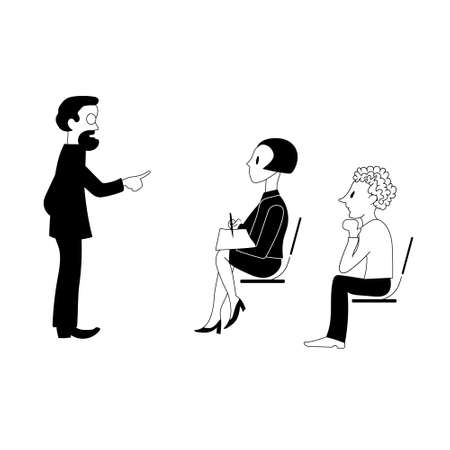 Teacher explains the topic to the audience. Vector illustration.
