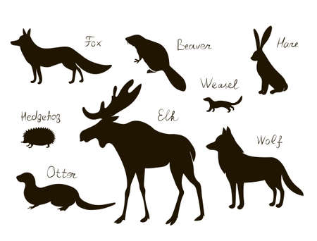 Forest animals. Vector black drawing silhouette image set. Иллюстрация
