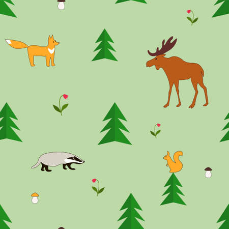Forest animals. Vector color drawing green image background.