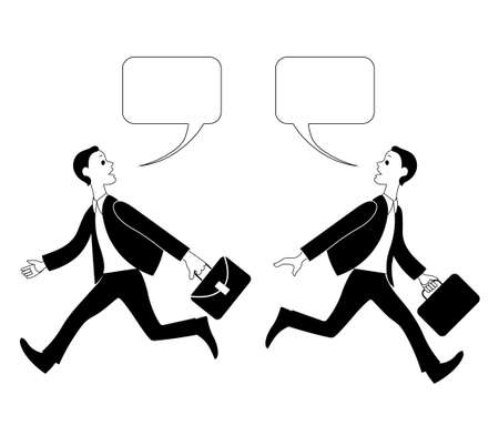 Two people in suits dont have time to talk. Vector image.