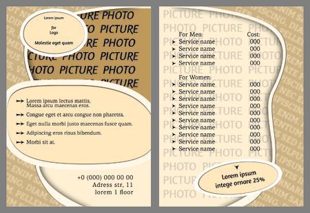 A Flyer, leaflet illustration and sample  on plain background. Illustration