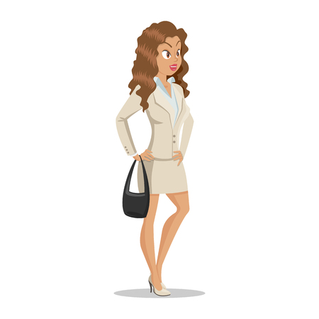 Attractive young women in elegant office clothes. Cute cartoon girl with a black bag in hand. Business girl. Office lady. Casual style. Ilustração