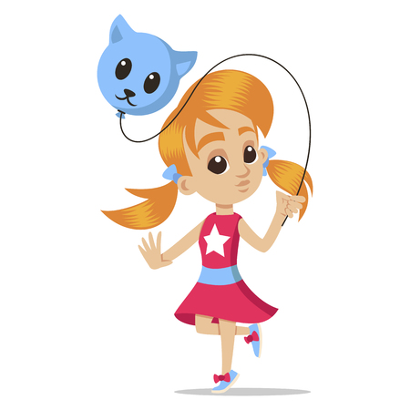 Young character portrait. Little girl with a balloon. Cute schoolgirl. Little kid. Cute little girl head character. Vector sketch cartoon illustration isolated on white background. Ilustracja