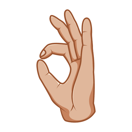 Hand gestures, great design for any purposes. Ok sign. Gesture line icon. Hand gestures illustration. Human vector gestures. White background.