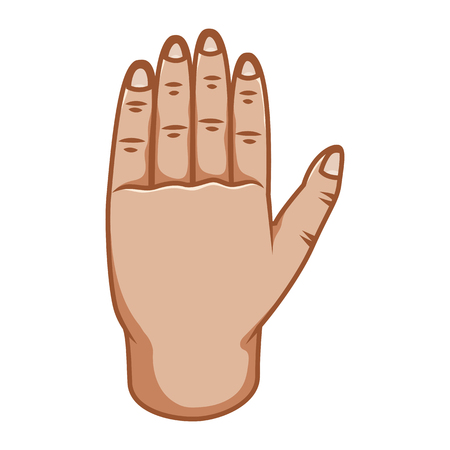 Hand gestures, great design for any purposes. Stop sign. Gesture line icon. Hand gestures illustration. Number five. Human vector gestures. White background.