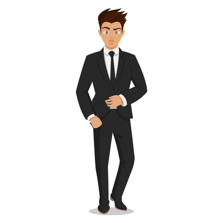 Attractive young men in elegant office clothes. Young businessman. Cute cartoon man. Successful young people. Illustration