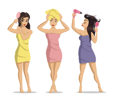 Girls after a shower. Woman face skin care. Beauty care illustration. illustration of young cute girls on white background.  Isolated cartoon illustration. 일러스트