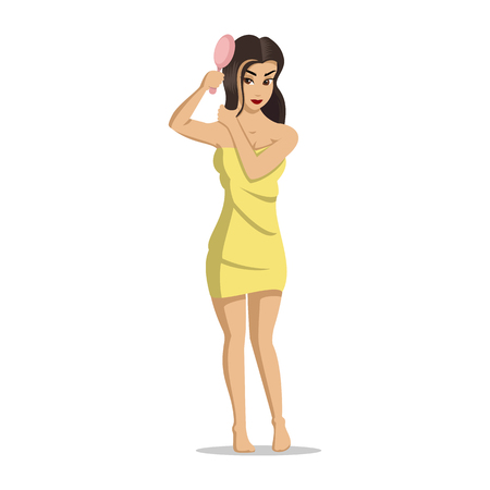 Girls after a shower. Woman face skin care. Girl dries hair. Girl is brushing her hair. Vector illustration of young cute girls on white background. Isolated cartoon illustration.