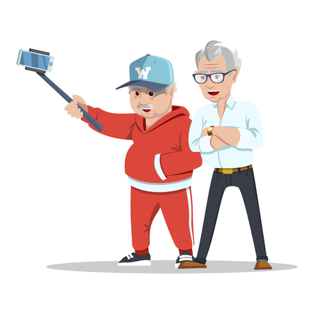 Meeting old friends. Group of cheerful senior people hipsters gathering and having fun. Senior people taking selfie photo with stick. Fashion grandfathers. Pensioners at retirement on white background 일러스트