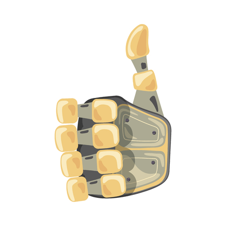 Robot hand. Mechanical technology machine engineering symbol. Hand gestures. Ok. Cool sign. Good sign. Peace. Vector illustration on the white background.