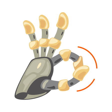 Robot hand. Mechanical technology machine engineering symbol. Hand gestures. Ok. Cool sign. Good sign. Peace. Excellent symbol. Energy between fingers. Vector illustration on the white background.