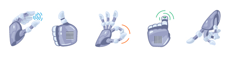 Robot hand gestures. Robotic hands. Mechanical technology machine engineering symbol. Hand gestures set. Futuristic design. Signs. Vector illustration on the white background.