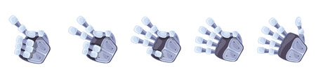 Robot hand gestures. Robotic hands. Mechanical technology machine engineering symbol. Hand gestures set. Futuristic design. Signs. One two three four five Vector illustration on the white background.