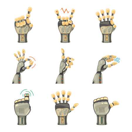 Robot hand gestures. Robotic hands. Mechanical technology machine engineering symbol. Hand gestures set. Futuristic design. Big robot arm. Signs. Vector illustration on the white background. Zdjęcie Seryjne - 125247483