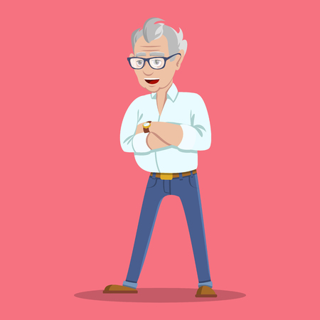 Portrait of grinning trendy elegant hipster grandpa. Wealthy flirt trendsetter hipster grandpa dressed in shirt and jeans. Happy old man on white background.
