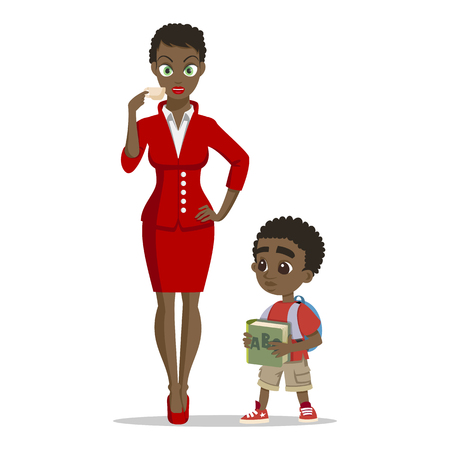 Young attractive african mother with her little son. Happy little boy. Happy family concept. Happy childhood. Love mother. Young happy family on white background.