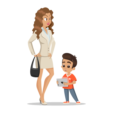 Young attractive mother with her little son. Happy little boy. Happy family concept. Happy childhood. Love mother. Young happy family on white background. Illustration