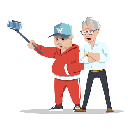 Meeting old friends. Group of cheerful senior people hipsters gathering and having fun. Senior people taking selfie photo with stick. Fashion grandfathers. Pensioners at retirement on white background Ilustração