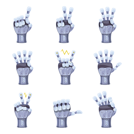 Robot hand gestures. Robotic hands. Mechanical technology machine engineering symbol. Hand gestures set. Futuristic design. Big robot arm. Signs. Vector illustration on the white background. Illustration