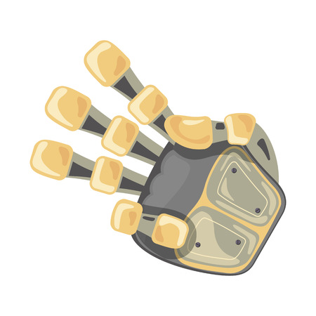 Robot hand. Mechanical technology machine engineering symbol. Hand gestures. Three number. Pointer. Third. Artificial Intelligence futuristic design. Vector illustration on the white background.