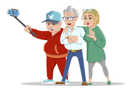 Set of cheerful senior people hipsters gathering and having fun. Group of senior people taking selfie photo with stick. Grandfathers and grandmother. Pensioners at retirement on white background.