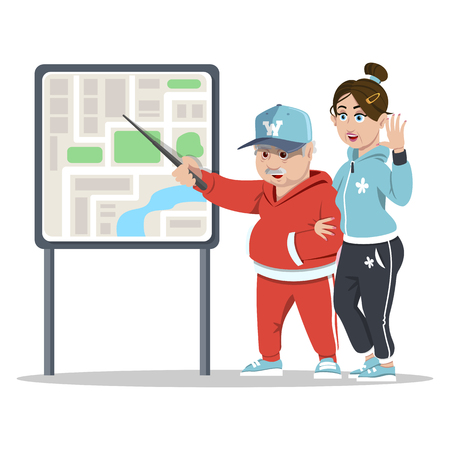 Senior couple traveling. Concept happy family. Grandparents. Elderly couple having city sightseeing tour. Old tourists reading a map. Happy pensioners at retirement on white background.