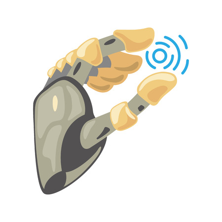 Robot hand. Mechanical technology machine engineering symbol. Hand gestures. Take sign. Energy between fingers. Artificial Intelligence futuristic design. Vector illustration on the white background.