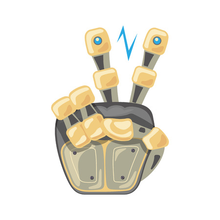 Robot hand. Mechanical technology machine engineering symbol. Hand gestures. Two number. Pointer. Second. Peace. Energy between fingers. Vector illustration on the white background. Illustration