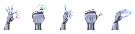 Robot hand gestures. Robotic hands. Mechanical technology machine engineering symbol. Hand gestures set. Futuristic design. Signs. Vector illustration on the white background.