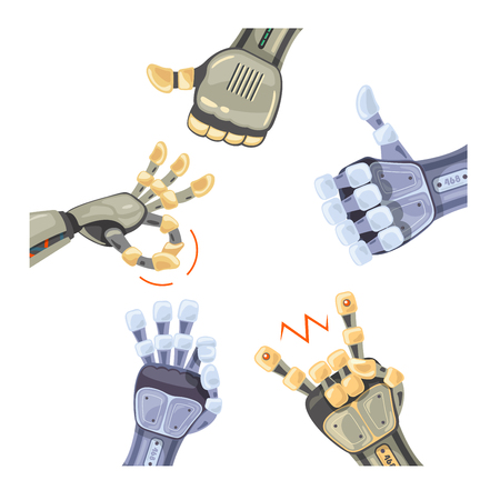 Many robot hand gestures. Robotic hands. Mechanical technology machine engineering symbol. Hand gestures set. Futuristic design. Vector illustration on the white background.