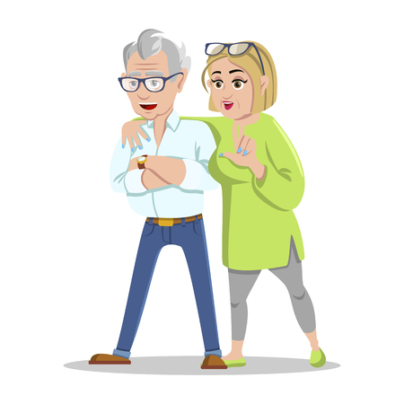 Meeting old friends. Group of cheerful senior people hipsters gathering and having fun. Concept happy family. Fashion grandfather and grandmother. Happy pensioners at retirement on white background.