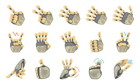 Robot hand gestures. Robotic hands. Mechanical technology machine engineering symbol. Hand gestures set. Futuristic design. Big robot arm. Signs. Vector illustration on the white background. Vecteurs