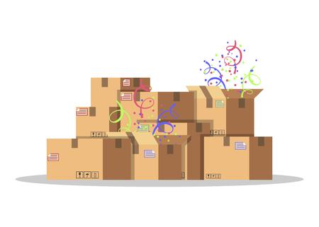 Cajas de cartón para embalaje y transporte de mercancías. Concepto de servicio de entrega. Empaquetado del producto. Cajas de cartón con confeti. Ilustración de vector de estilo plano aislado sobre fondo blanco. Ilustración de vector