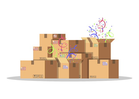 Scatole di cartone per imballaggio e trasporto merci. Concetto di servizio di consegna. Confezione del prodotto. Scatole di cartone con coriandoli. Illustrazione di vettore di stile piano isolato su priorità bassa bianca. Vettoriali