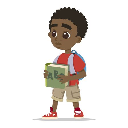 Young character portrait. Happy boy cartoon. Cute schoolboy. Little african kid. Cute little boy head character Child vector collection. Vector sketch cartoon illustration isolated on white background