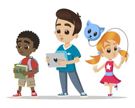 Groep kleine kinderen. Portret van jonge personages. Meisje met een ballon. Gelukkig jongensbeeldverhaal met tablet. Afrikaanse kleine jongen. Schattige kleine kinderhoofden karakters. Vector.