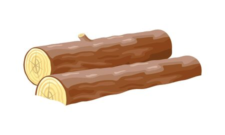 Vector image shows lying long brown logs with small knot isolated cartoon illustration Ilustrace