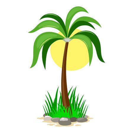 Vector picture shows green palm tree in grass with rocks against yellow sun disk cartoon isolated illustration Ilustracja